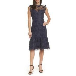Chelsea28 Lace Ruffle Hem Dress Size Blue Navy